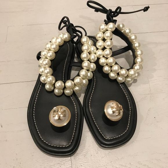 fd2867987ea7 New Tory Burch pearl statement preppy flat sandals.  M 5adf26c29a9455bd178a3ab7